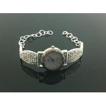 Reloj Para Dama De Plata Ley 925 Con Piedras De Zirconia