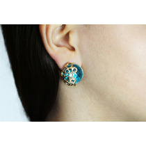 Arete Moda Dorado Aros Y Fino Cristal Azul Turquesa Ar119