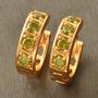 Aretes Oro Gold Filled 10k Con Peridots De 3mm 3.8 Gramos
