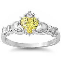 Anillo Plata Celta Topacio Diamante Amor Compromiso Cladagh
