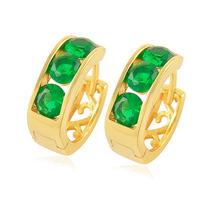 Aretes Oro Laminado 10k Con Esmeraldas De 4mm 2.5 Gramos