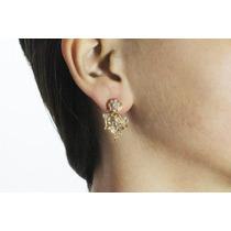 Arete Moda Dorado Flor Y Figuras Con Finos Cristales Ar354