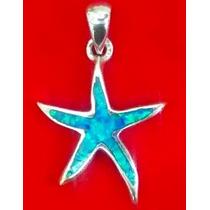 Dije De Estrella De Mar En Plata .950 Con Opalo Azul