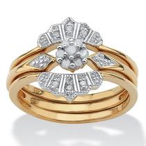 1/7 Tcw Diamante Anillo Set En 18k Oro Encima Plata-tamaño 9