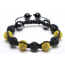 Pulsera Elástica Bling Jewelry Bolas Cristal Amarillo Negro