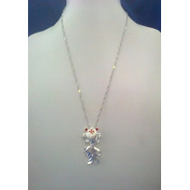 Collar,pez Japones Color Plata Tamaño 4.5*2.5 Cm,cadena 46cm