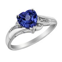 Creado Promise Ring Corazón Azul Zafiro Con Diamantes 7/8 C