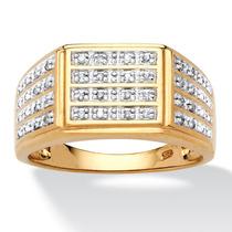 De Los Hombres 1/6 Tcw Diamante 18k Oro Plata-tamaño 12