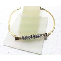 Pulserita Oro 14k 15cms Con Diamantes C. Completo Blancos