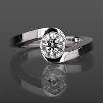 Anillo Compromiso 14k Diamante Natural .20 Puntos G Vs1