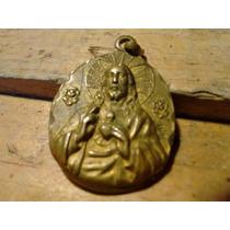 Arte Sacro Dije De Bronce Sagrado Corazón Y Virgen María