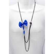 Collar Casual Largo Cadena Negra Moño Azul
