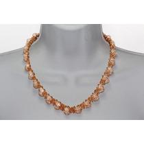 Collar Moda Y Pulsera En Cadena Pedrería Finos Cristales