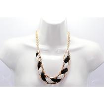 Collar Moda Dorado Acabado Chaquiras Blancas Y Negras Cc153