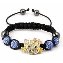 Pulsera Shamballa Con Cristales Tipo Swarovsk Kitty Azul