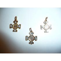 Paquete 3 Dijes San Benito Metal Con Cristales Y Collar Piel
