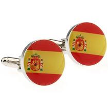 Mancuernillas Bandera España Circular Acero Camisa Traje