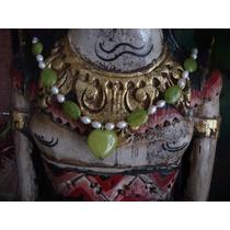 Collar En Jade Verde, Con Perlas 48 Cm