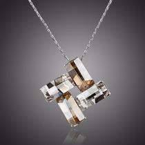 Maravilloso Collar Dije 4 Rectángulos + Chapa De Oro Blanco