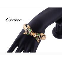 Cartier Love Brazalete De Pantera 14k Esmeraldas Y Esmaltado
