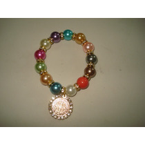 Pulseras De Perla Con Medalla De Sanbenito Con Tipo Circonia