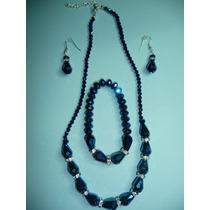 Hermoso Juego De Collar, Pulsera Y Aretes Cristales Azules
