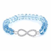 Pulsera Infinito Dama Con Zirconias Cristal Azul Ajustable