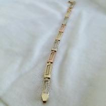 Pulsera Diamantada Tres Colores De 14 Kilates Y 18 Cm