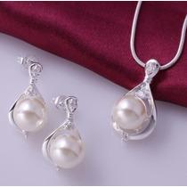 Set Anillo Dije Aretes C/perla Elegante Joyería Fina Novia