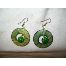 Gcg Aretes De Coco Circulos Y Bolitas Color Verde Bfn