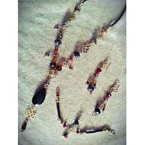 Set Collar Obsidiana Nudo Celta Oro Laminado