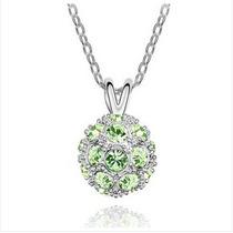 Hermoso Collar Con Globo De Cristal (verde)