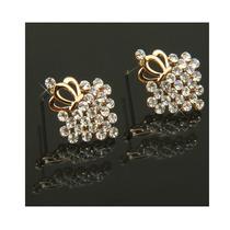 Pendiente Corona Con Forma De Diamantes De Imitación