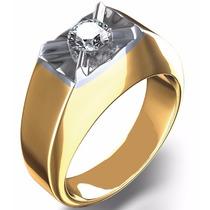 Majestuoso Anillo Caballero Oro 14k. & Diamante Envío Gratis
