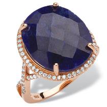15.88 Zafiro Anillo Tcw Azul En Oro Rosa Sobre Ss-size 7