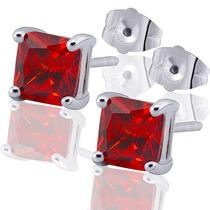 Aretes Oro Laminado 10k Con Rubies De 6x6mm 1.8 Gramos