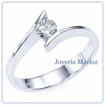 Anillo Compromiso Blanco 14k Diamante Natural De Mina .17ct