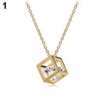 Cadena Y Dije Cubo Imitación Diamante Cristal Collar Dorado