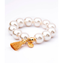 Pulsera Van Grieken Perlas Blancas. Baño De Oro 18k.