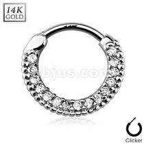 Clicker P/ Septum Tipo Collar Y Gemas Gds-02 Oro De 14k Glam