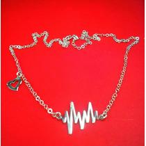 Dije Con Cadena Electrocardiograma Y Corazón. Plata. 925.