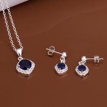 Juego Conjunto De Aretes Y Collar De Cristal Azul Diamante