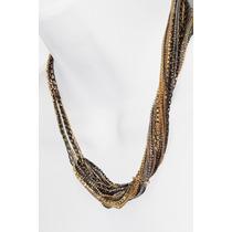 Collar Moda Dorado Y Negro Diseño Varias Cadenas Y Cristales