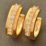 Aretes Oro Laminado 10k Con Zirconias De 2mm 4.2 Gramos