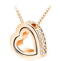Collar Dije Corazon Dual Cristal Swarovski + Regalo