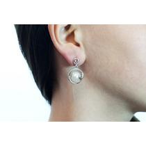 Arete Moda Plateados Cristales Y Perlas Ar224