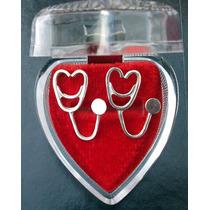 Aretes Estetoscopio Corazón Doctora Bióloga Enfermera Plata