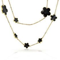 Bling Jewelry Negro Esmalte 5 Hoja Trébol Flor Collar 42