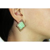 Arete Moda Dorado Rombo Piedra Verde Finos Cristales Ar516