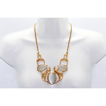 Collar Moda Dorado Incrustaciones Hojas De Acrílico Y Aretes